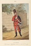 Рядовой Изюмского Гусарского полка, с 1765 по 1776 год. Таблица №619. Литография раскрашенная акварелью. 38х26 см. ВИМАИВиВС