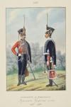 Офицер и рядовый Изюмского Гусарского полка, 1817-1819 гг. Таблица №1522. Литография раскрашенная акварелью. 1855 г.  38х26 см.