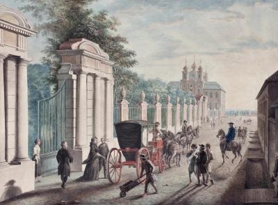 Отъезд Екатерины II из Петергофа в день дворцового переворота 28 июня 1762 года. Неизвестный художник. Россия, Санкт-Петербург, 1760-е гг.  Бумага, наклеенная на картон, акварель, гуашь, 26х35,1 см. ГЭ