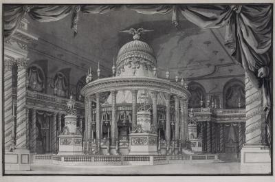 Изображение катафлка Екатерины II и Петра III в Гербовом зале Зимнего дворца
