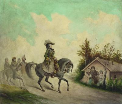 Сцена из путешествия Екатерины II в Крым. Неизвестный художник. Россия, XIX в. Холст, масло, 45,5х52,7 см. ГЭ