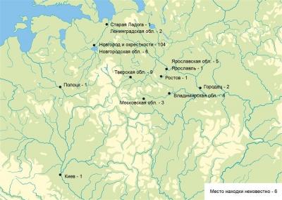 Карта Восточной Европы с отметками находок печатей Александра Ярославича
