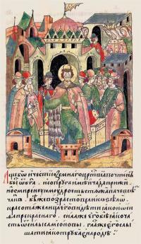Великий князь Александр Ярославич на миниатюре Лицевого летописного свода 1568–1576 гг. (Т. 6, стр. 8)